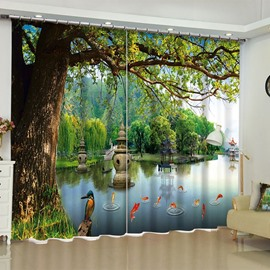 3D Peaceful Lake and Golden Fishes with Old Trees Printed 2 Panels Living Room Curtain
