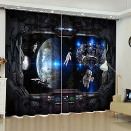 3D Space Exploration Scenery Printed 2 Panels Custom Living Room Curtain