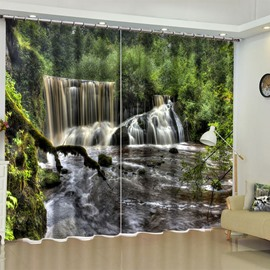 3D Rolling Waterfalls in Thick Forest Printed 2 Panels Blackout Living Room Curtain