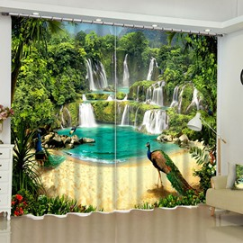 Green Waterfalls and Honorable Peacocks Printed Custom Polyester Blackout Curtain