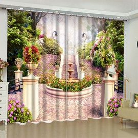 Green Garden with Romantic Purple Flowers Printed Custom Blackout 3D Curtain