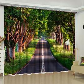 Lush Trees and Clean and Peaceful Road Printed 2 Panels Living Room 3D Curtain