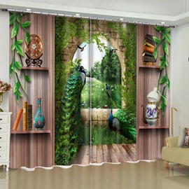 Elegant Peacocks and Retro Shelves Printed 2 Panels Custom Curtain for Living Room