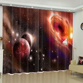 The Vast Universe Printed Custom Polyester Living Room Blackout 3D Curtain