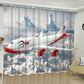 3D Flying Aircraft over the Thick Clouds Printed Custom Polyester Living Room Curtain