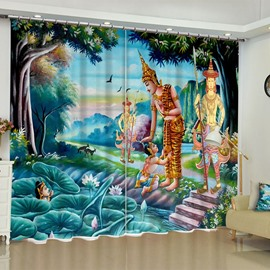 Cartoon Characters and Green Lotus Printed 2 Panels Curtain for Living Room