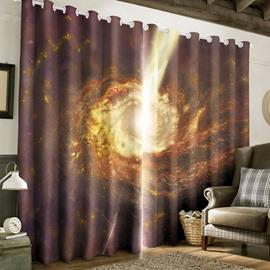 Splendid Starry Scene Printed 2 Panels Thick Polyester Blackout Window Drape