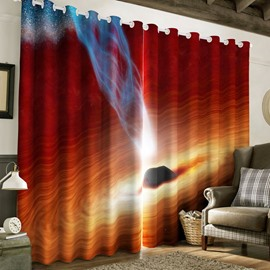 3D Red Galaxy Printed 2 Panels Blackout and Decorative Bedroom Window Drape