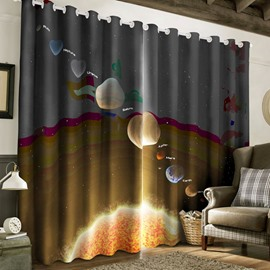 3D Vivid Planets Printed Thick Polyester 2 Pieces Blackout Living Room Curtain