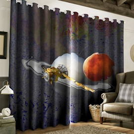 3D Spacecraft Flying in the Universe Printed 2 Panels Living Room Curtain