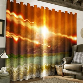 3D Bright Sunlight and Surging Waves Printed Custom Polyester 2 Panels Bedroom Curtain