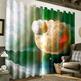 Vast and Grand Starry Scene Printed Thick Polyester 2 Panels Living Room 3D Curtain