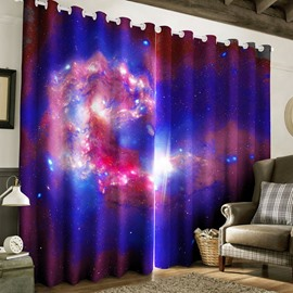 Wonderful and Grand Starry Scenery Printed 2 Panels Living Room Curtain