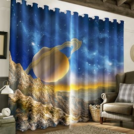 3D Grand Starry Scenery Printed 2 Pieces Living Room Blackout Curtain