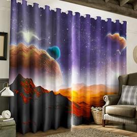 3D Splendid Galaxy Printed 2 Panels Living Room Blackout Custom Curtain