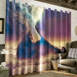3D Grand Natural Scenery Printed 2 Panels Curtain for Living Room and Bedroom