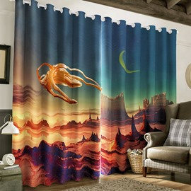 3D Wonderful Scenery Printed Thick Polyester Custom Living Room Curtain