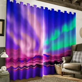 3D Colorful and Beautiful Aurora Printed 2 Panels Custom Living Room Curtain