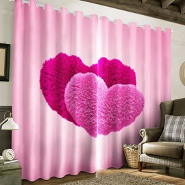 3D Romantic Pink Red Heart Printed Romantic Style 2 Panels Living Room Curtain