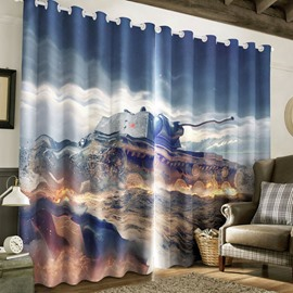 3D Huge Tank Printed Thick Polyester 2 Panels Natural Style Living Room and Bedroom Curtain