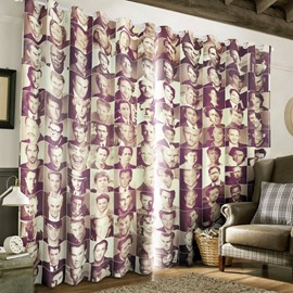 3D Character Portraits Printed 2 Panels Living Room Decorative and Blackout Curtain