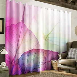 3D Light Purple Leaves Printed Pastoral Style Natural Living Room and Bedroom Curtain