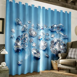 3D Dazzling Diamonds Printed Delicate and Modern Custom Living Room Curtain