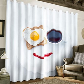 3D Vivid and Lovely Breakfast Printed Romantic and Cozy Custom Living Room Curtain