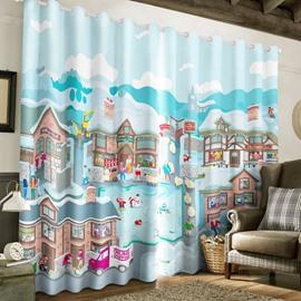 Creative Cartoon Houses and People Printed 2 Panels Living Room Window Drape