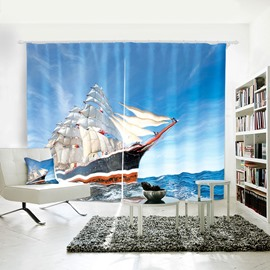 3D Polyester 2 Slices Blue Sailing Sea Pattern Shading Curtain