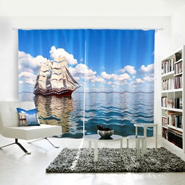 Blue Sailing Sea Pattern 3D Shading Polyester Curtain