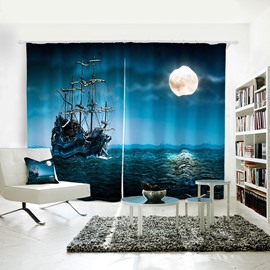 Blue Moon Sailing Sea Pattern Room Darkening 3d Curtain