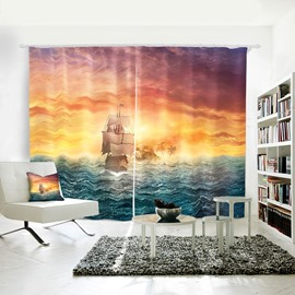 Room Darkening Setting Sun Sailing Sea Pattern Polyester Curtain