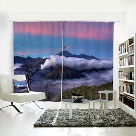 Blue Mountain White Fog Pattern 3D Polyester Curtain