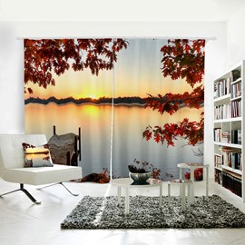 Red Maple Leaves Lake 3D Polyester Curtain