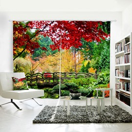 Plant Pattern Polyester Material Room Darkening 3D Curtain