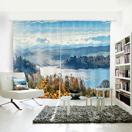Blue Sky Lake Mountain Room Darkening 3D Curtain