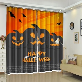 3D Polyester Orange And Black Cartoon Pumpkin Halloween Scene Curtain for Kids Room/Living Room