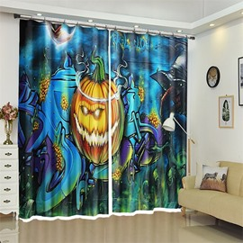 3D Polyester Cartoon Pumpkin Halloween Scene Curtain for Kids Room/Living Room