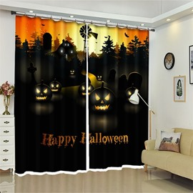 3D Creative Pumpkin Halloween Scene Polyester Custom Curtain for Kids Room/Living Room
