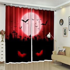 Red 3D Polyester Custom Eyes Halloween Scene Curtain for Kids Room/Living Room