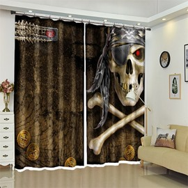 3D Skull Pattern Polyester Custom Halloween Scene Curtain For Living Room