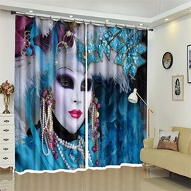 Mask Pattern 3D Polyester Custom Halloween Scene Curtain For Living Room