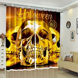 Funny Skull Pattern 3D Polyester Custom Halloween Scene Curtain For Living Room