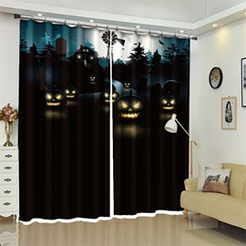 3D Polyester Creative Black Pumpkin Pattern Custom Halloween Scene Curtain For Living Room
