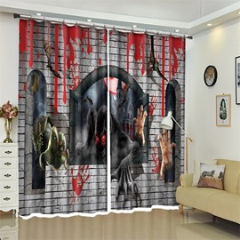 Monster Hands Pattern 3D Polyester Custom Halloween Scene Curtain For Living Room