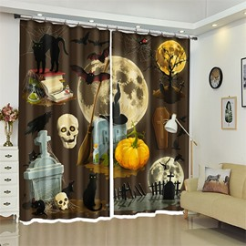 Creative Tomb Pattern 3D Polyester Custom Halloween Scene Curtain For Living Room