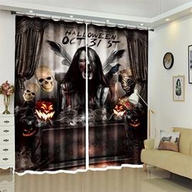 Creative Skull Pattern 3D Polyester Custom Halloween Scene Curtain For Living Room