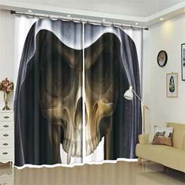 Skull Pattern 3D Polyester Custom Halloween Scene Curtain For Living Room