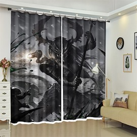 Warrior Pattern 3D Polyester Custom Halloween Scene Curtain For Living Room